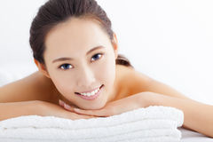 Woman getting spa treatment over white background Royalty Free Stock Photo