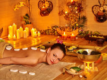 Woman getting stone therapy massage Stock Photos