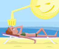 Woman getting sunstroke at beach Royalty Free Stock Photography