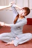 Woman Getting Thai Massage Stock Photo