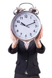 Woman with giant clock Stock Image