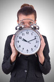 Woman with giant clock Royalty Free Stock Photography