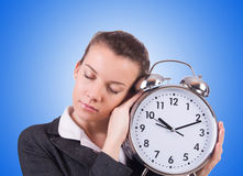 Woman with giant clock on white Royalty Free Stock Images