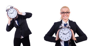 The woman with giant clock on white Royalty Free Stock Images