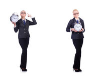 The woman with giant clock on white Stock Photography