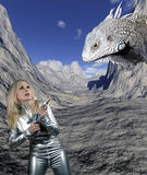 Woman with giant reptile Stock Photo