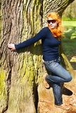 Woman and giant tree Stock Photography