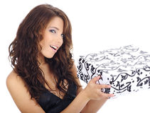 Woman with gif box Stock Photo