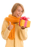 Woman with gift. Portrait of young woman holding gift Stock Photo