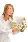 Woman with gift Royalty Free Stock Photos