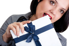 Woman with a gift stock images
