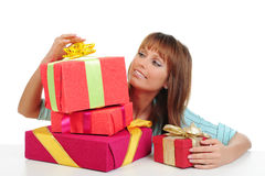 Woman with a gift Stock Image