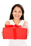 Woman with a gift Royalty Free Stock Photography