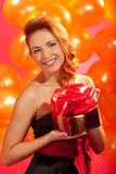 Woman with gift Stock Photo