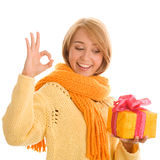 Woman with gift Royalty Free Stock Photo