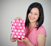 Woman with gift Royalty Free Stock Image