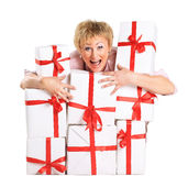 Woman with a gift Royalty Free Stock Images