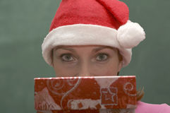 Woman with a gift. Christmas woman with a gift Stock Photography