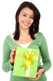 Woman with a gift Stock Photography