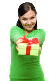 Woman with gift Stock Images