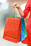 Woman with a gift bag Royalty Free Stock Photography