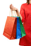 Woman with a gift bag Royalty Free Stock Image