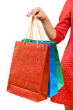Woman with a gift bag Stock Image