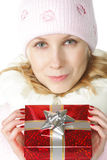 Woman and gift-box Stock Images