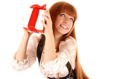 woman with gift box Stock Image