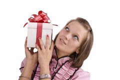 Woman with gift box Stock Photography