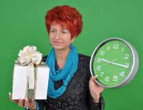 Woman with gift box Royalty Free Stock Image