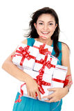 Woman with gift box Stock Photos