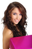 Woman with gift box Royalty Free Stock Images