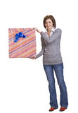 Woman with a gift box Royalty Free Stock Photos