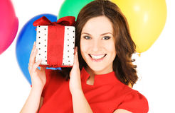Woman with gift box and balloons Royalty Free Stock Photos