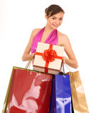 Woman with gift box  and bow. Stock Photography