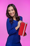 Woman with gift box. Royalty Free Stock Photos