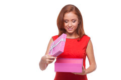 Woman with gift box. Stock Image