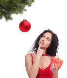 Woman with gift box and christmas ball Stock Photography