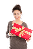 Woman with gift box Royalty Free Stock Photo