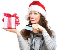 Woman with Gift Box and Credit Card Stock Photo