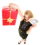 Woman with gift box and euro currency money banknotes. Stock Photo