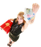 Woman with gift box and euro currency money banknotes. Stock Image