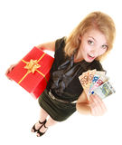 Woman with gift box and euro currency money banknotes. Stock Photography
