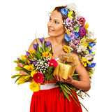 Woman with gift box and flower. Royalty Free Stock Image
