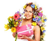 Woman with gift box and flower. Royalty Free Stock Images