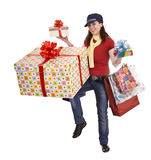 Woman with gift box and group bag. Royalty Free Stock Image