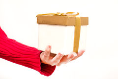 Woman with a gift box in hands Royalty Free Stock Photography