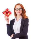 Woman with gift box in hands. Royalty Free Stock Images