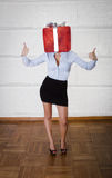 Woman with gift box on head Royalty Free Stock Photos